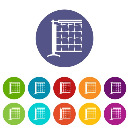 Tennis net icons set vector color Illustration