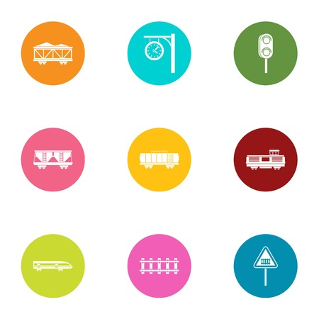 Span icons set, flat style Иллюстрация