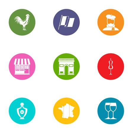 Territory icons set, flat style Vettoriali