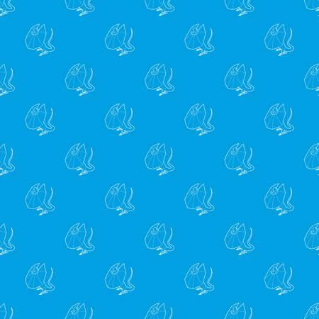 Frill necked lizard pattern vector seamless blue