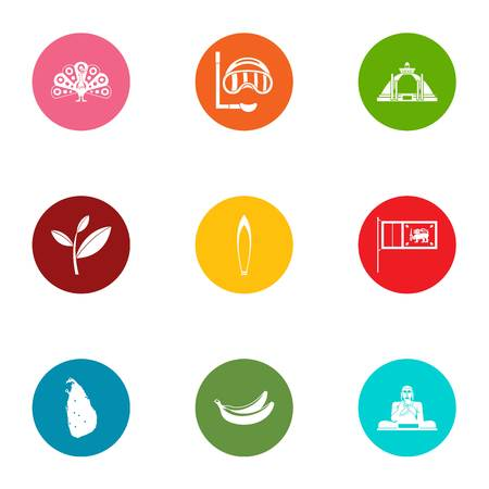 Swimming environment icons set, flat style