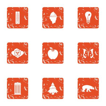 Forest district icons set, grunge style Vettoriali