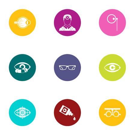 Impact on vision icons set, flat style