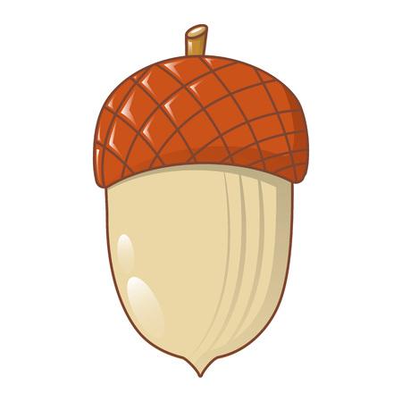 Acorn nut icon, cartoon style