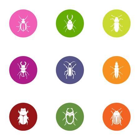Bark bug icons set, flat style