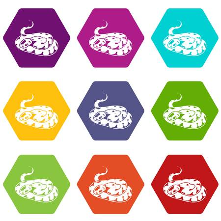 Snake icons 9 set coloful isolated on white for web