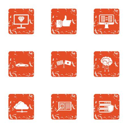 Information transmission icons set. Grunge set of 9 information transmission vector icons for web isolated on white background Illustration