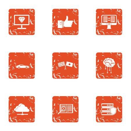 Information transmission icons set. Grunge set of 9 information transmission vector icons for web isolated on white background Illustration