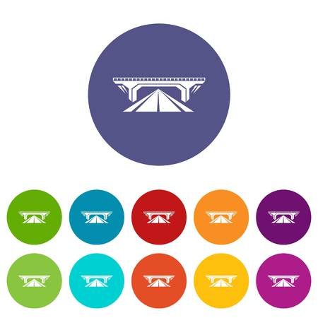 Concrete bridge icons color set vector for any web design on white background
