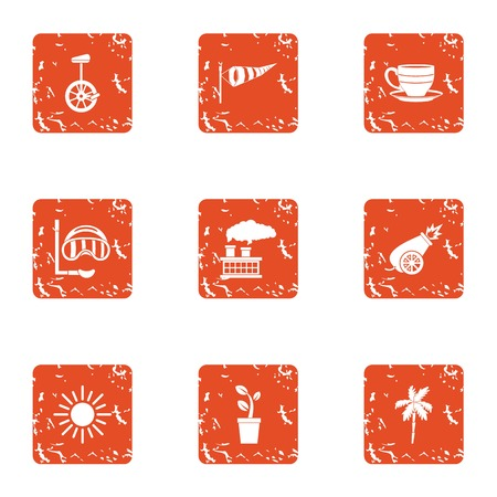 Beach development icons set. Grunge set of 9 beach development vector icons for web isolated on white background