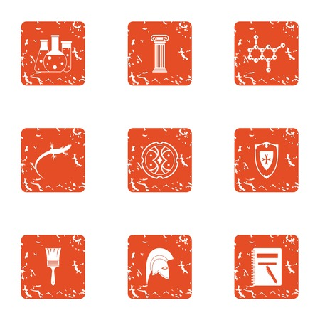 Study of lizard icons set. Grunge set of 9 study of lizard vector icons for web isolated on white background