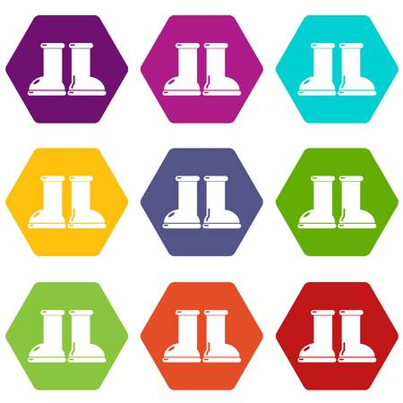 Rubber garden boots icons 9 set coloful isolated on white for web