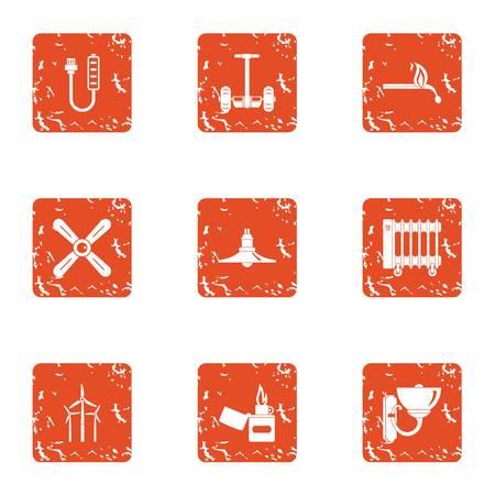 Energy return icons set. Grunge set of 9 energy return vector icons for web isolated on white background