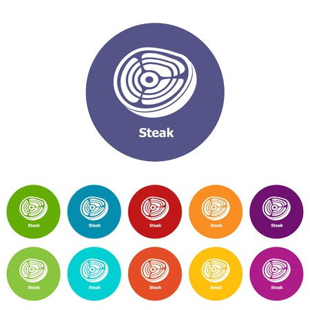 Steak icons color set vector for any web design on white background