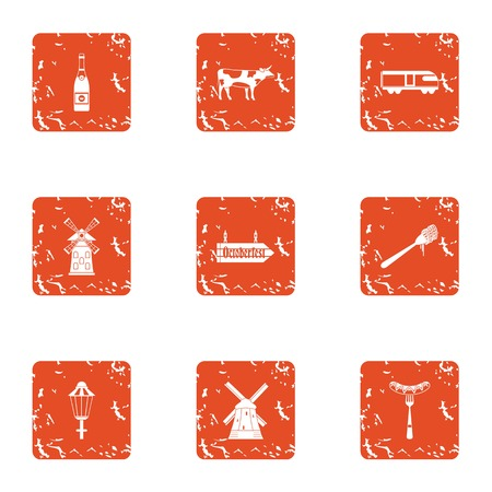 Cleaning field icons set. Grunge set of 9 cleaning field vector icons for web isolated on white background