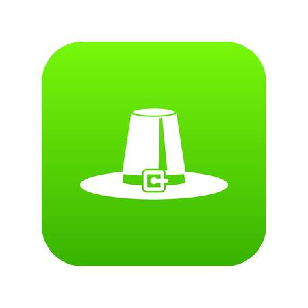 Pilgrim hat icon digital green for any design isolated on white vector illustration