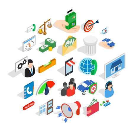Coole Ideen-Icons eingestellt. Isometrischer Satz von 25 coolen Ideenvektorikonen für Web lokalisiert auf weißem Hintergrund