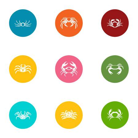 Crustacean icons set. Flat set of 9 crustacean vector icons for web isolated on white background