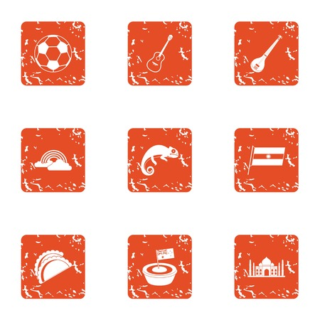 Sortie icons set. Grunge set of 9 sortie vector icons for web isolated on white background