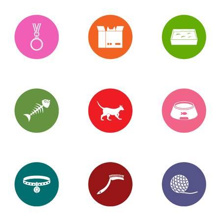 Zoological icons set. Flat set of 9 zoological vector icons for web isolated on white background Illustration