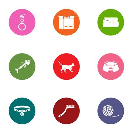 Zoological icons set. Flat set of 9 zoological vector icons for web isolated on white background Иллюстрация