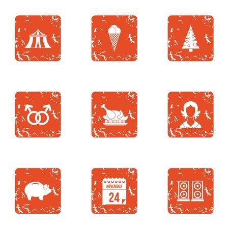 Amazing date night icons set. Grunge set of 9 amazing date night vector icons for web isolated on white background