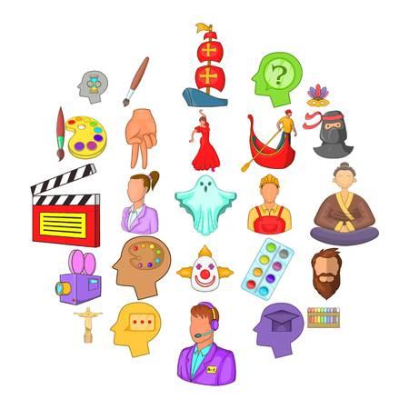 Conjunto de iconos de actores. Conjunto de dibujos animados de 25 iconos de vector de actores para web aislado sobre fondo blanco