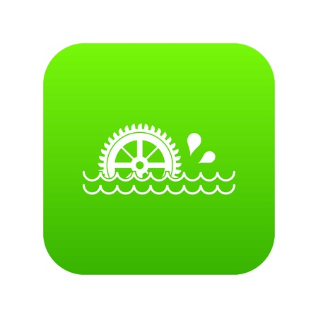 Waterwheel icon digital green for any design isolated on white vector illustration
