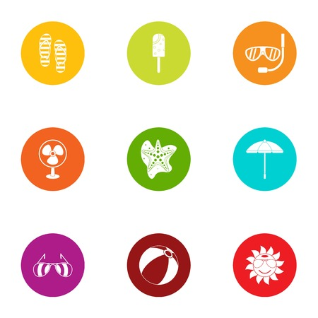Summer day icons set. Flat set of 9 summer day vector icons for web isolated on white background
