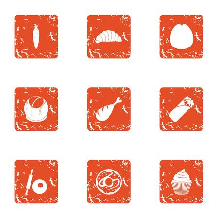 Spare food icons set. Grunge set of 9 spare food vector icons for web isolated on white background