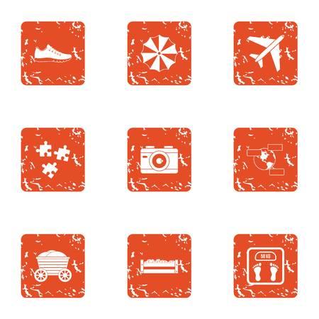 Sport trip icons set, grunge style
