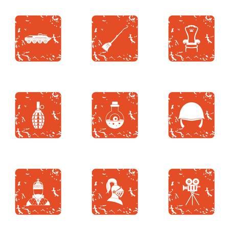 Religious warfare icons set, grunge style Illustration