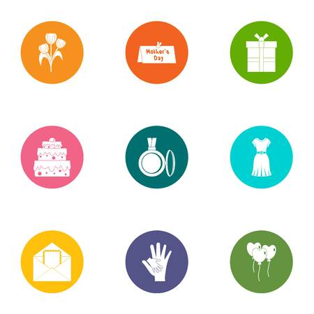 Close person icons set, flat style