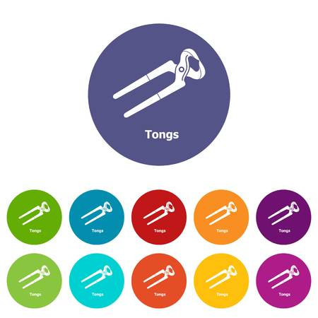 Tongs icons set vector color Stock Illustratie