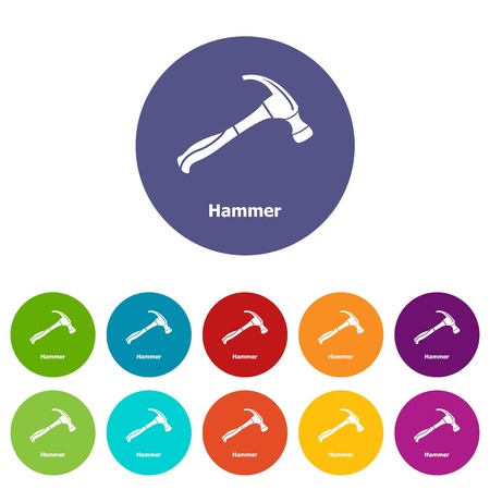 Hammer icons set vector color