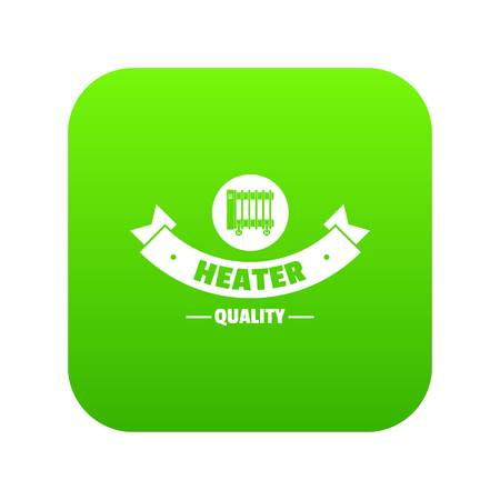 Quality heater icon green vector