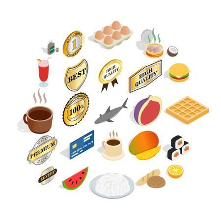 Fruit diet icons set, cartoon style