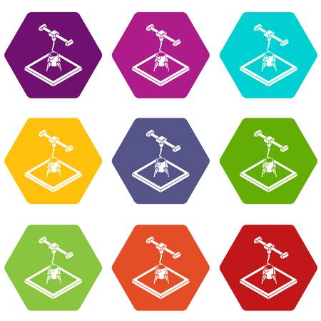 Rocket d printing icons 9 set coloful isolated on white for web Illustration