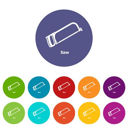 Saw icons set vector color