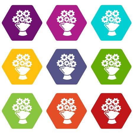 Wedding flower bucket icons set 9 vector