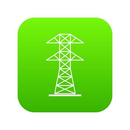 High voltage tower icon digital green Illustration
