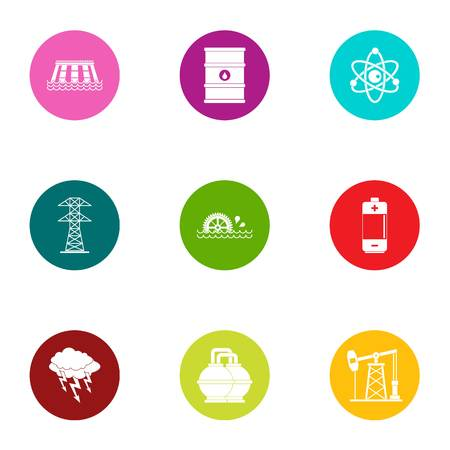 Process fuel icons set, flat style Illustration
