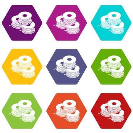 Coil for d printer icons set 9 vector