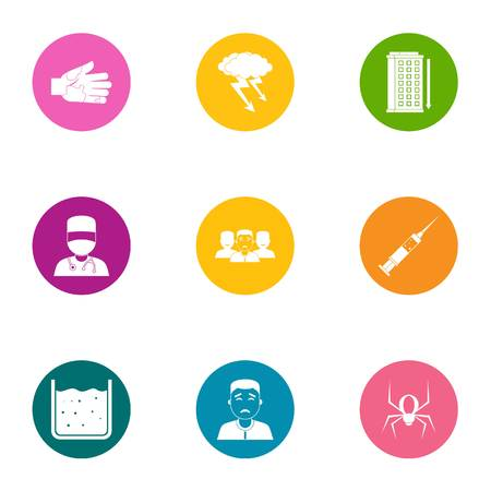 Health intervention icons set, flat style