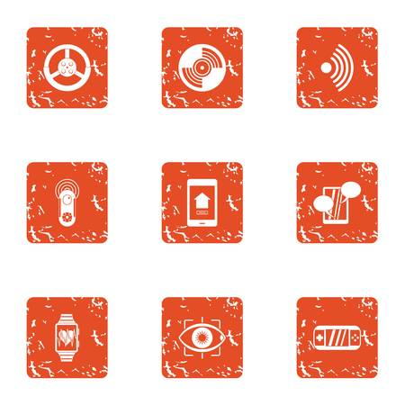 Pulse rate icons set, grunge style