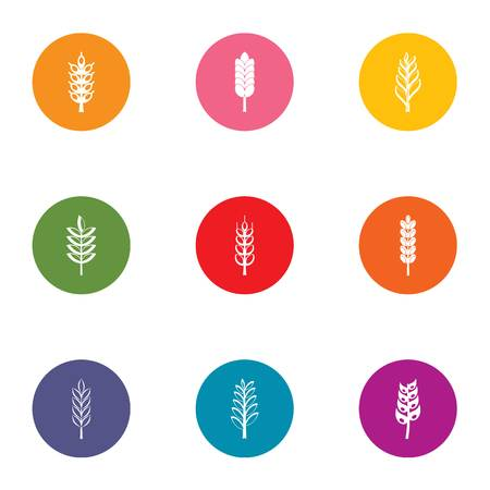 Content of gluten icons set, flat style