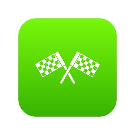 Crossed chequered flags icon digital green