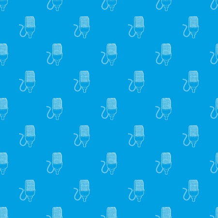 Retro microphone pattern vector seamless blue repeat for any use Illustration