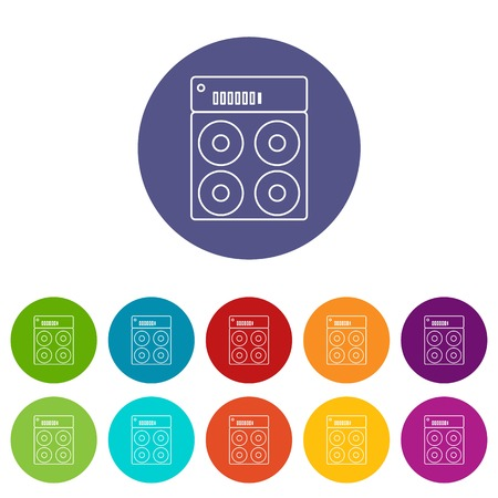 Speaker box icons color set vector for any web design on white background