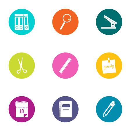 Paper icons set. Flat set of 9 paper vector icons for web isolated on white background